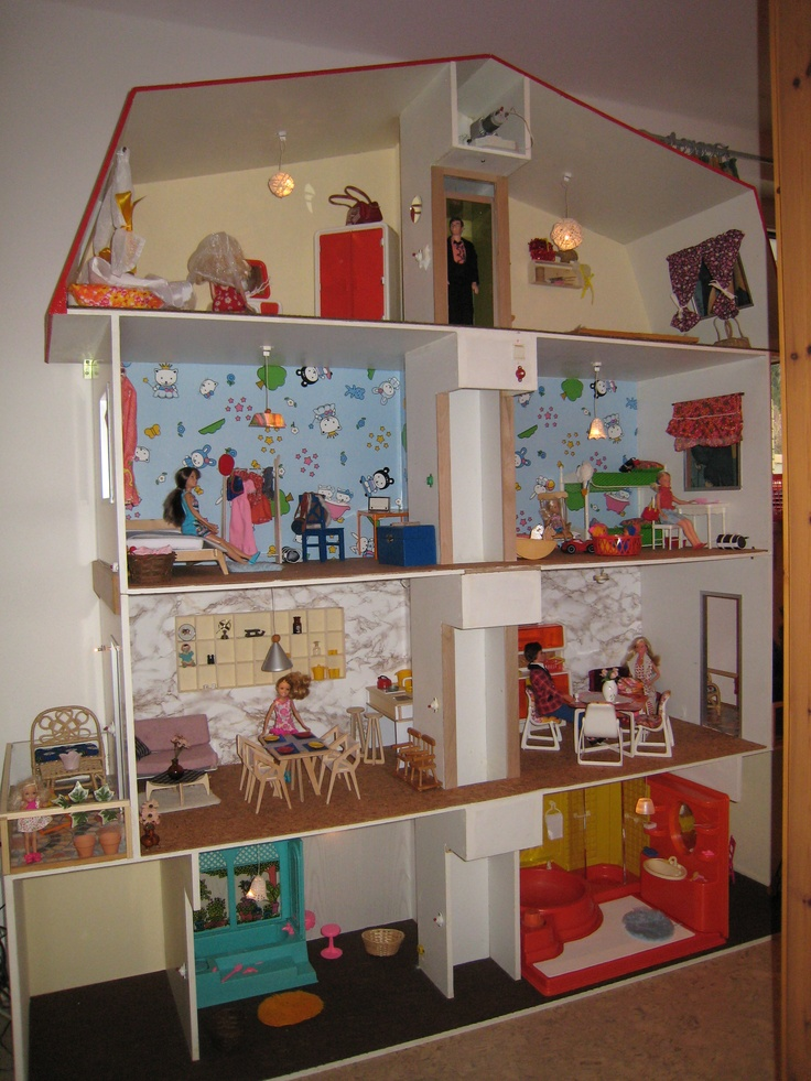 #Barbie house made by my dad in 1978 complete with working lift, working lights, balconies etc.! Refurbished and updated with #Miniio #IKEA style furniture for the grandkids :-)