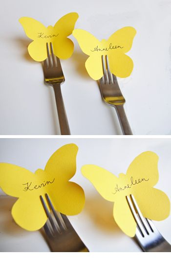 Springtime Table Setting Idea - Paper Butterfly Placecards that you slide into forks! /Trouw Plaza