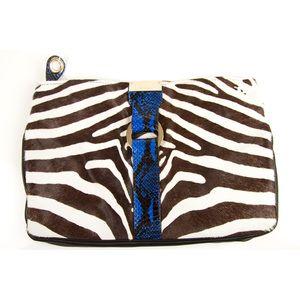 Jimmy Choo Zebra print pony skin fur, blue snake trim clutch handbag