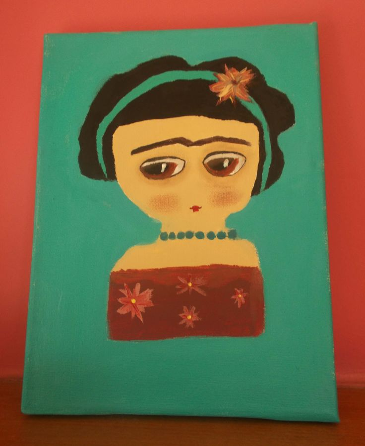 handpainted canvas frida kahlo (17X24cm)  from my 10 years old daughter! #frida $10