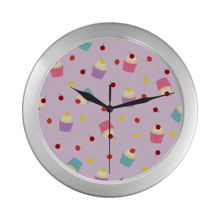 Fruity Cupcakes Silver Color Wall Clock