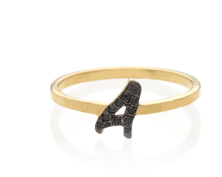 Black diamond initial ring - Personalized initial ring - letter ring - Gold initial ring  -custom initial ring  - black diamond ring - http://blackdiamond-rings.com/black-diamond-initial-ring-personalized-initial-ring-letter-ring-gold-initial-ring-custom-initial-ring-black-diamond-ring/