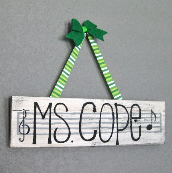 Music Teacher Name Plate  Teacher Sign  Customizable  by bourdiers, $28.00