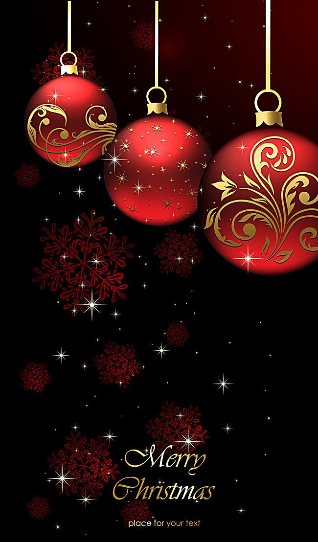 Red Christmas Ball Poster Background Material Photo Art