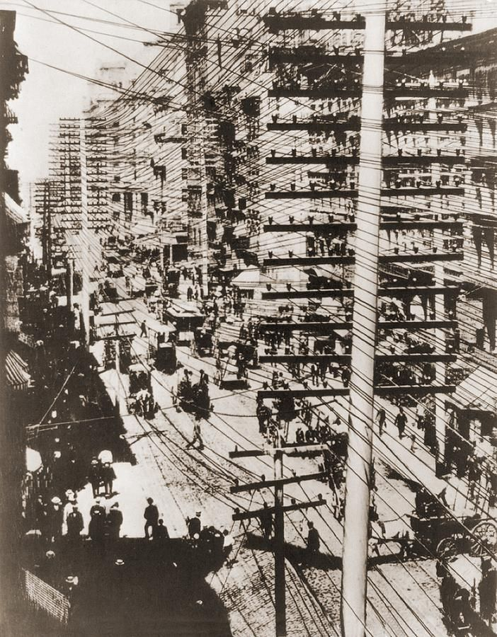 """Telephone Wires Over New York, 1887 Photograph  - Before AT was declared a """"natural monopoly."""""""