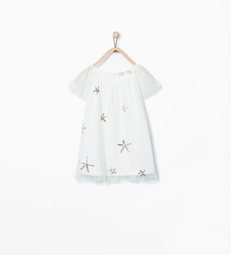 Image 1 de T-shirt en tulle à paillettes de Zara