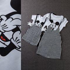 1970-х годов мать женщины мультфильм печатных короткий рукав футболки Семья оборудованная полосатые двух частей ремень платье Девушки