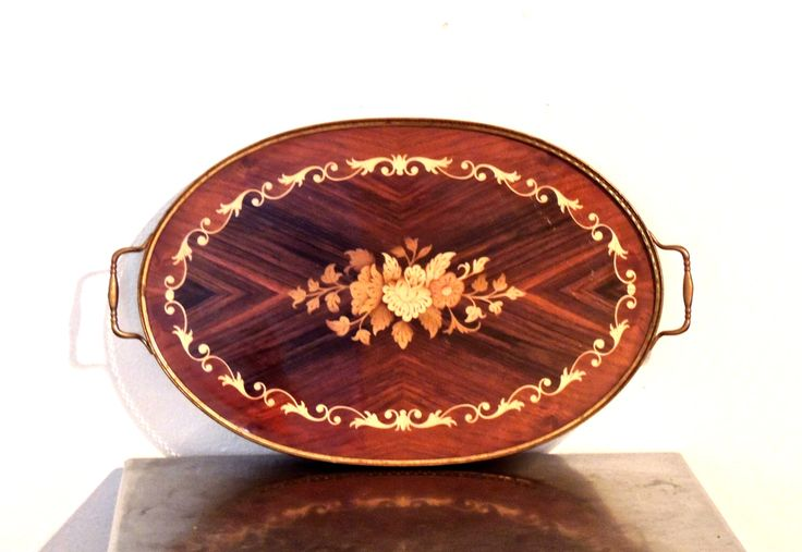 Vintage 1950s-60s wood inlay & brass handled serving tray; made in Italy. #woodinlay #brasshandle #italiantray https://www.etsy.com/listing/482149952/vintage-inlaid-wood-brass-tray-1950s-60s