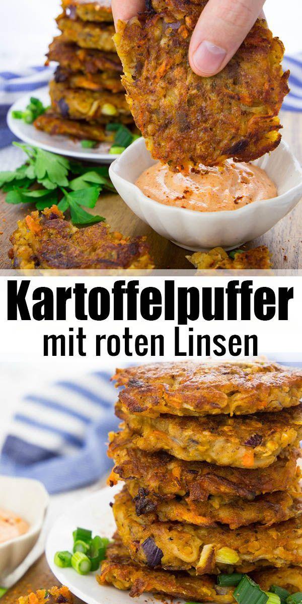 Super leckeres und einfaches Rezept für vegane Kartoffelpuffer mit roten Linsen…