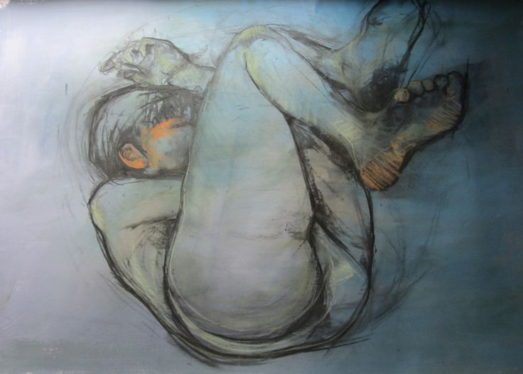 'Roll', charcoal and pastel figure drawing