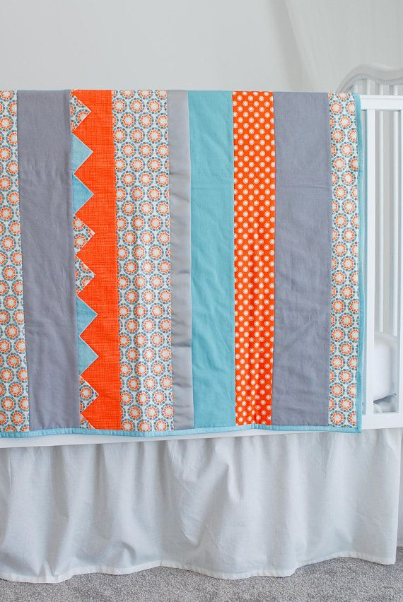Baby Blanket Orange Blue And Gray Newborn Baby Quilt Geometric Print Quilted 100 Cotton Baby Gift For Newborn Baby Boy Baby Quilts Baby Girl Quilts Baby Boy Quilts