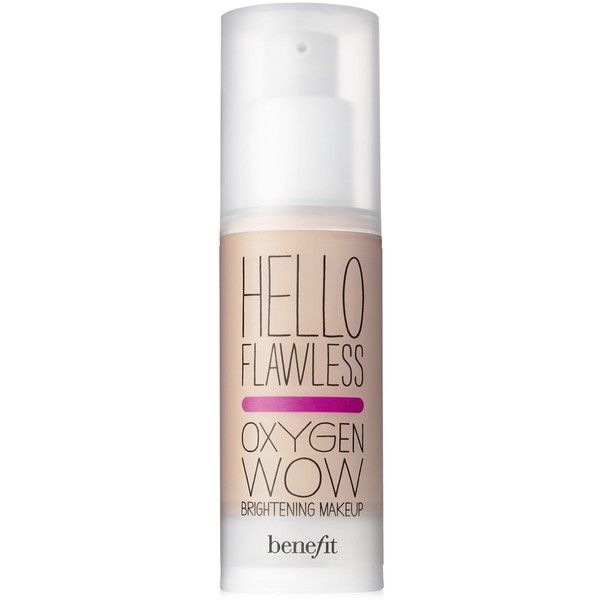 Benefit Cosmetics hello flawless oxygen wow spf 25 liquid foundation (145 BRL) ❤ liked on Polyvore featuring beauty products, makeup, face makeup, foundation, beauty, benefit foundation, liquid foundation, oil free foundation, oil free liquid foundation and spf foundation