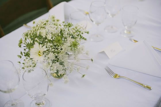 Vintage Garden Wedding: Wedding centerpiece idea: all white flowers with a casual, wildflower feel // Falkirk Mansion | Lucille Lawrence Photography