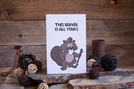 Funny Valentines Card Beaver Love Anniversary by sylvannest, $5.00