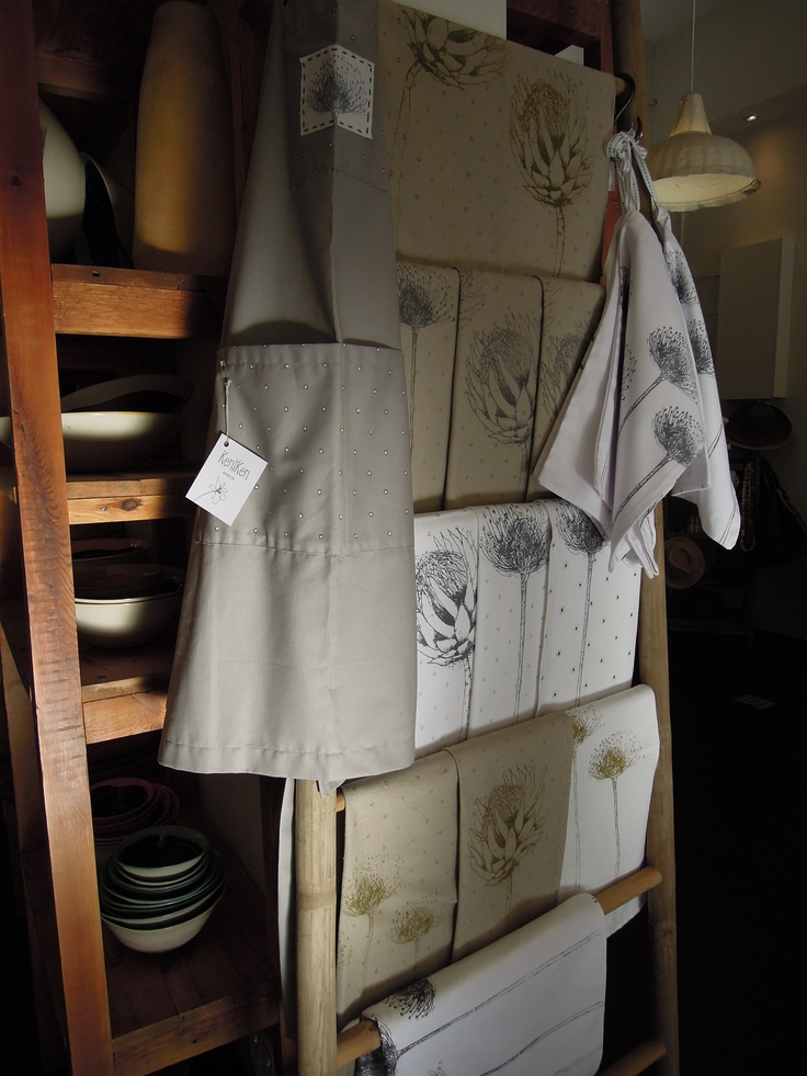 Beautiful kitchen towels, aprons, table runners and cloths by KeniKen available at Blink - www.theblinkshop.co.za