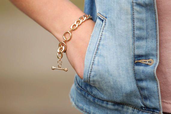 BIG GOLD Bracelet, Adjustable gold Chain Bracelet, #jewelry #bracelet @EtsyMktgTool http://etsy.me/2hi9Dd0 #adjustablebracelet