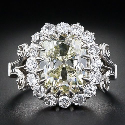 4.14 Carat Antique Light Yellow Cushion Diamond Ring