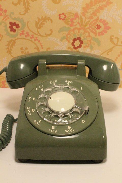 Rotary Phone Vintage Phone Vintage Avocado by ClockworkRummage, $40.00