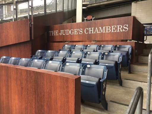 The Judge's Chambers, in session at Yankee Stadium - May 22, 2017: The rooting section for New York Yankees rookie Aaron Judge is viewed at Yankee Stadium in New York, Monday, May 22, 2017. Looking like a jury box and known as The Judge's Chambers, the section is just behind where Judge plays right field. (AP Photo/Ben Walker)