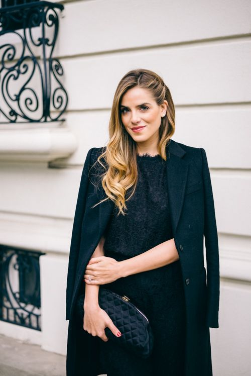 Gal Meets Glam Black lace Jumpsuit - DVF, Chanel Clutch, and Joseph Coat