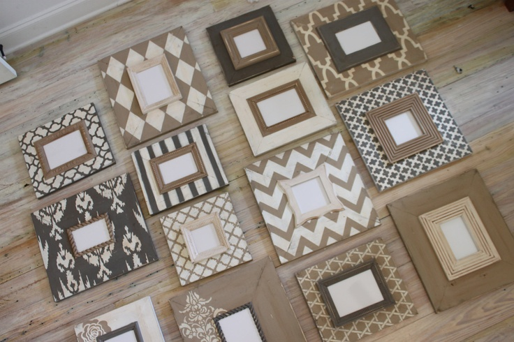 Neutrals Taupe and Grey and Vintage White Distressed Frames :Wall Gallery Stairwell Set, Custom Made Any Color Combo. $925.00, via Etsy.