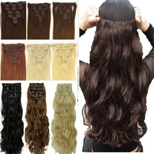 17 인치 8 Picecs 두꺼운 Hairpices 자연 부드러운 여성 전체 머리 클립 확장 뜨거운 판매 스타일 긴 머리 브라운 블랙