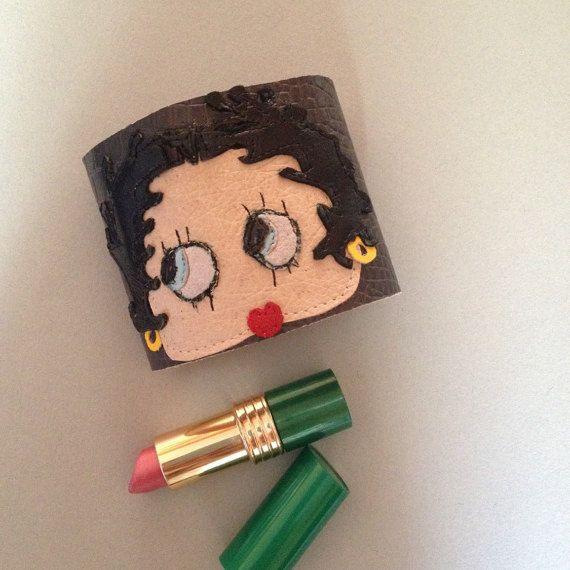 Betty Boop cuff bracelet/Retro cartoon/Pin by TellMamaxxSmallRoom