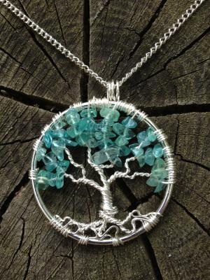 Apatite Tree of Life Hand Wire Wrapped Pendant