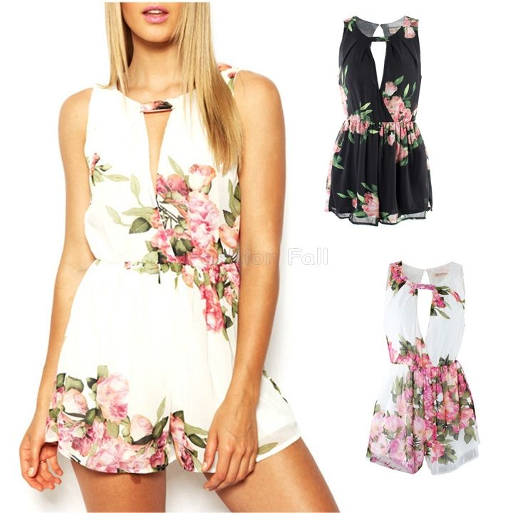 Cheap jumpsuits plus size women, Buy Quality dresses europe directly from China jumpsuit Suppliers: Macacao Feminino 2014 New Fashion Summer Deep V Collar Short Rompers Dress Skyrise Playsuit Sleeveless Sexy White