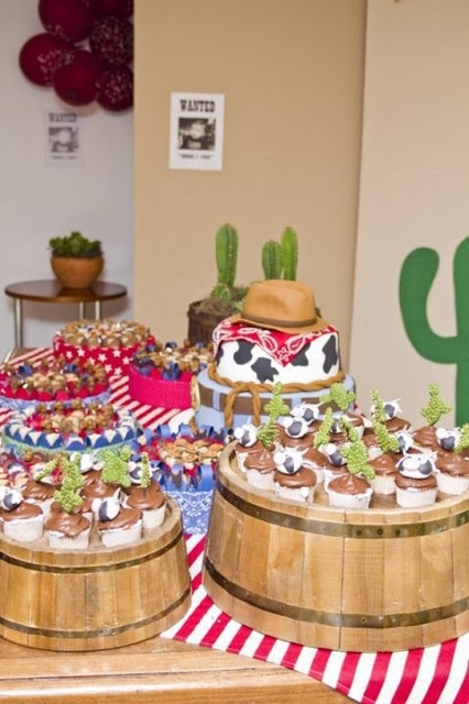 Upside down washtubs could be fun for a rodeo themed buffet.