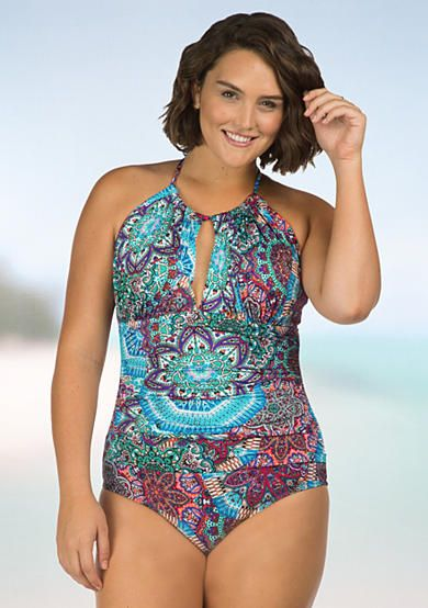Kenneth Cole Reaction Plus Size Bohemian Babe High-Neck One-Piece