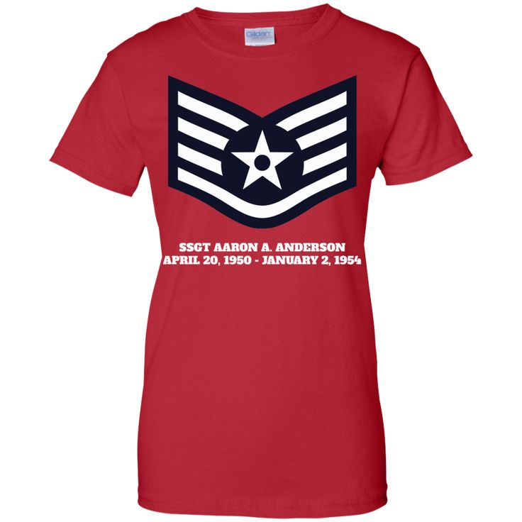 Air Force Staff Sergeant Rank Ladies Custom 100% Cotton T-Shirt