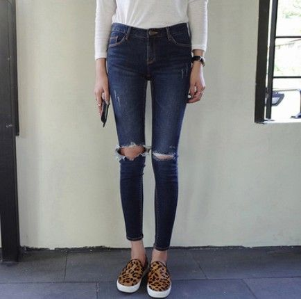 Fashion 2015 New Brand Skinny Hole High Waist Jeans Woman Korean Slim Thin Pencil Pants Capris Dark Blue Plus Size Ripped Jeans-in Jeans from Women's Clothing & Accessories on Aliexpress.com | Alibaba Group