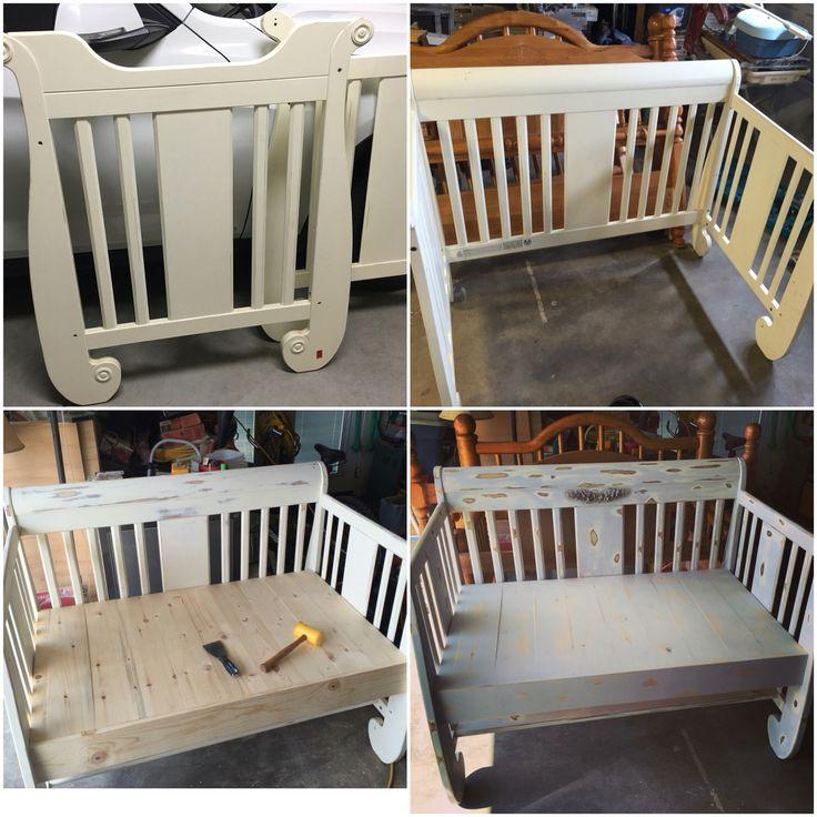 From start to finish repurposed baby crib bench.