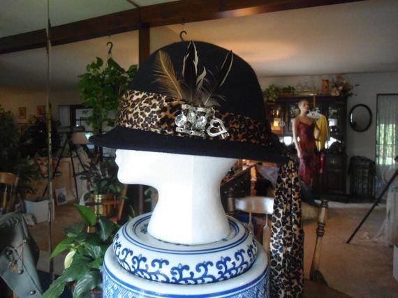 100% Wool Navy Blue Upcycled Vintage Feathered Animal Print Silver Pendant Black Flower Womens 40's Hat by LandofBridget