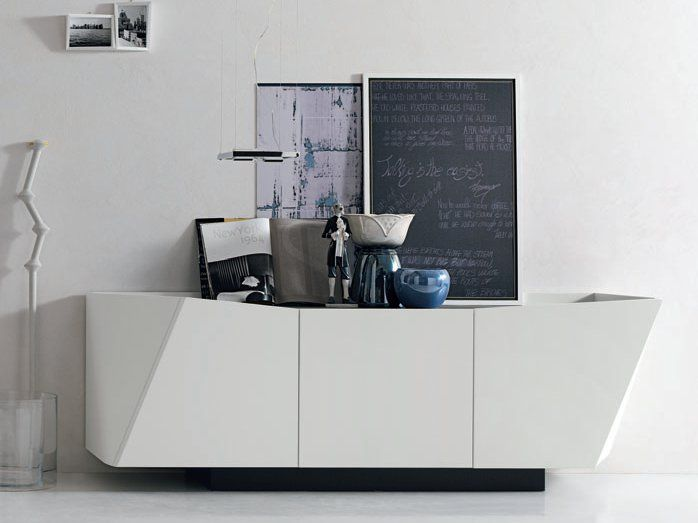 Simple Lacquered wooden sideboard with doors with drawers GEM by ALIVAR design Andrea Lucatello