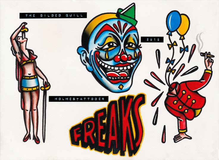 Clown Freaks Tattoo Flash