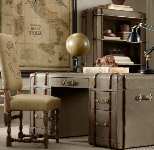 Such great eye candy. Steamer trunk desk design... not even Indiana Jones has an office this cool.