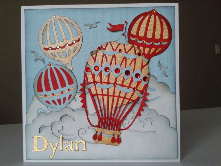Made using X-cut 'Build a Scene' Vintage Hot Air Balloon and personalised.