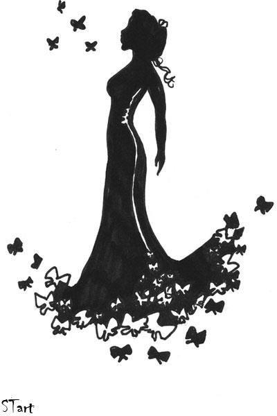 Картинки силуэт девушки в платье