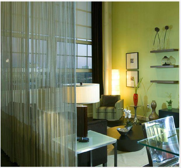 Chain curtain for separation in the open space from kitchen etc - offene küche wohnzimmer abtrennen
