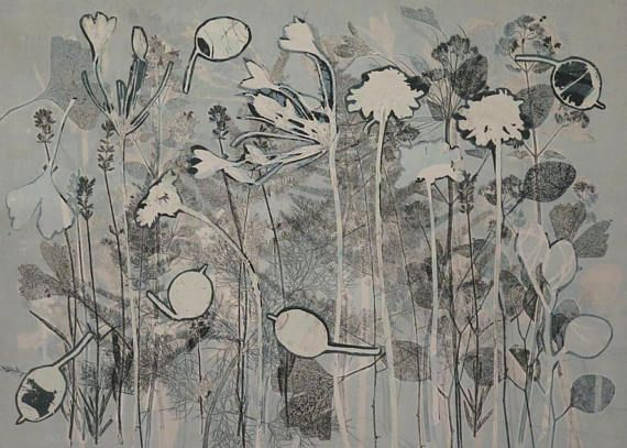 A beautiful unique hand made original ooak botanical monoprint made with love and care directly using flowers gathered with love from a Yorkshire country cottage garden. Printed on a cream Surrey cartridge paper with black water based ink this handmade print is modern and organic,
