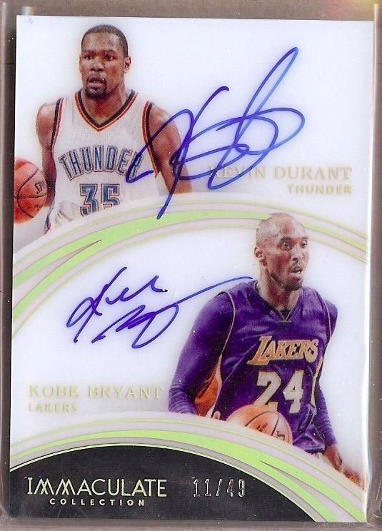 2015-16 IMMACULATE ACETATE KEVIN DURANT / KOBE BRYANT DUAL AUTO 11/49!!