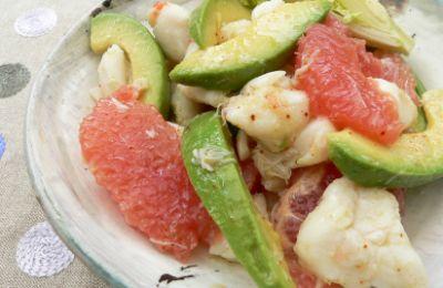 Recette - Salade crabe, pamplemousse rose et avocat -