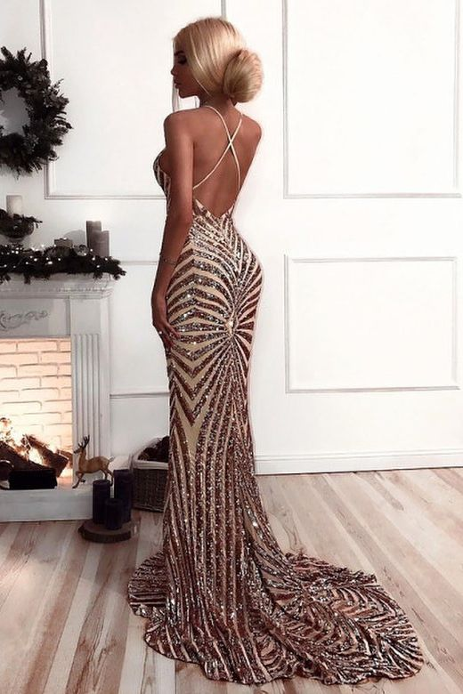 Sexy V Neck Straps Mermaid Rose Gold Sequins Long Evening Dress