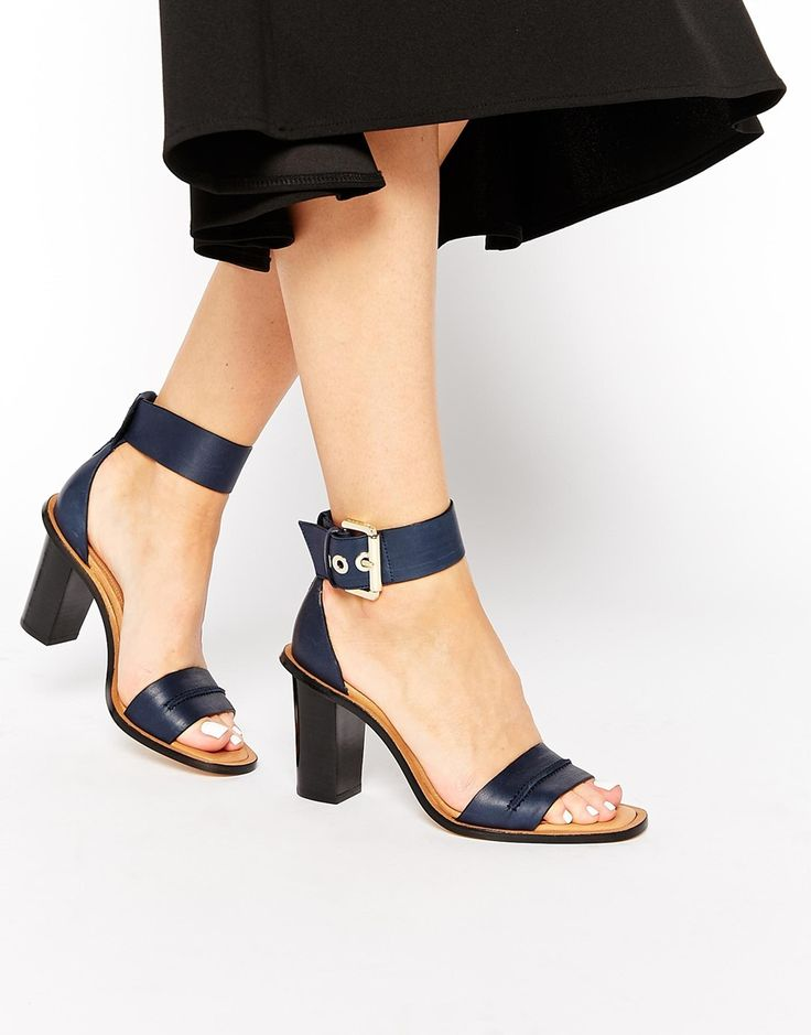 Whistles Senna Navy Two Part Leather Heeled Sandals