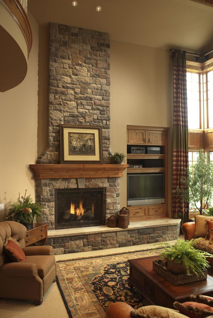 Stone fireplace decor and Country fireplace