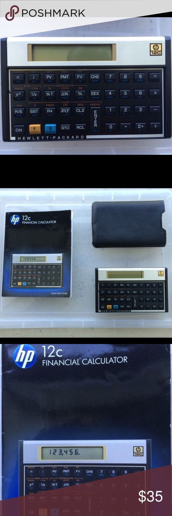 HP 12-C financial calculator The HP 12-C financial calculator features built-in financial functions and statistics, uses Reverse Polish Notation (RPN), more than 120 built-in features including but not limited to cash flow analysis. It has 10 character, 1 line LCD display. Device measures 5.0 x 0.6 x 3.1 inches (WxHxD). HP Accessories
