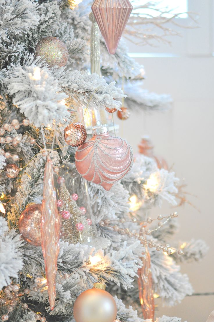 blush pink and white flocked vintage inspired christmas tree by karau0027s party ideas kara allen for michaels