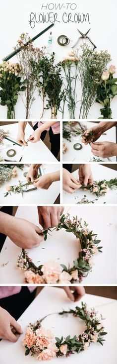 DIY floral head piece! Creating your own flower crown will allow you to select your favourite flowers. Such a great idea.
